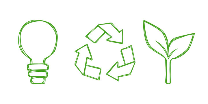 Vector set of universal eco symbols: light bulb, recycling sign and sprout. Illustration in line art style, isolated on white background