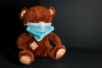 Teddy bear with protective mask
