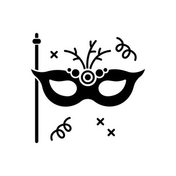Masquerade mask black glyph icon. Theme party, luxurious ball, fashionable celebration event silhouette symbol on white space. Elegant masque, costume accessory vector isolated illustration