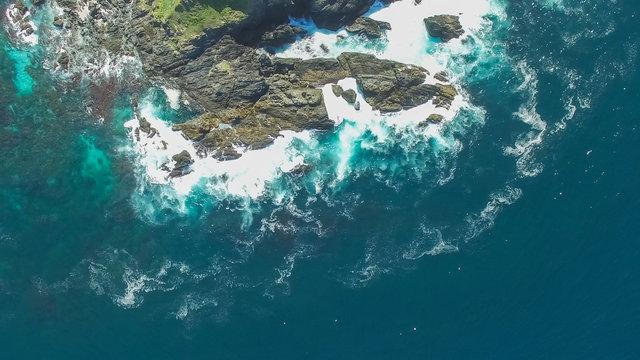 overhead aerial shot of split solitary island in australia