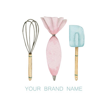 Culinary spatula, whisk and pink pastry bag
