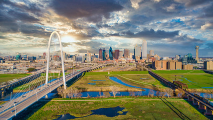 Foto op Plexiglas Texas Dallas Texas TX Downtown Drone Skyline Aerial