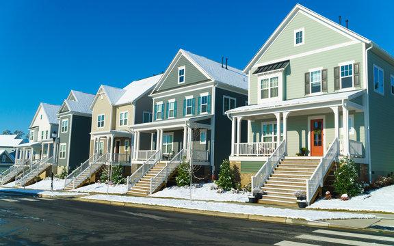 Suburban street on a beautiful winter day
