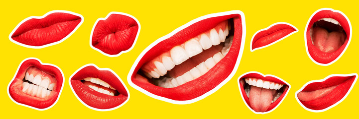 Collage in magazine style with female lips on bright yellow background. Smiling, mouthes screaming, scratching, different emotions. Modern design, creative artwork, style, human emotions concept. Wall mural