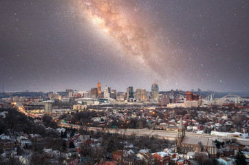 Milky way over over Cincinnati, ohio
