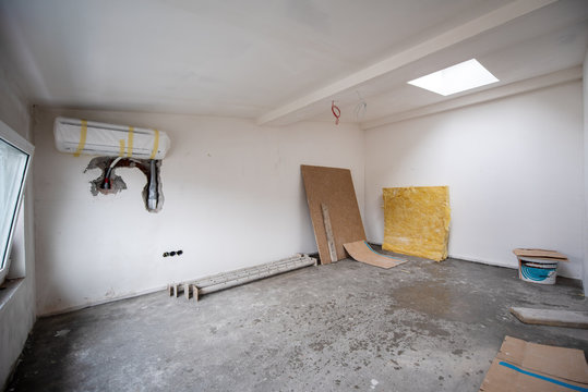 interior of construction site with white drywall