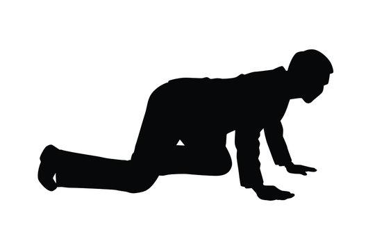 Business man crawl