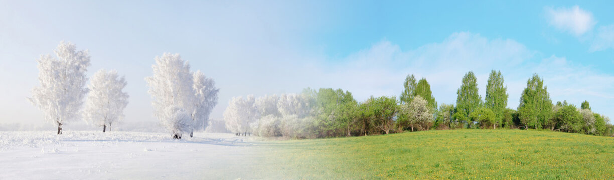 Two seasons. Beautiful panoramic landscape in summer and winter