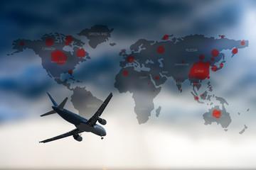 Foto op Canvas Vliegtuig Coronavirus map, Covid-19 is spreading across the world.