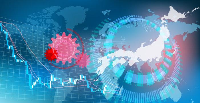 コロナウィルスによる日本の株価下落イメージ