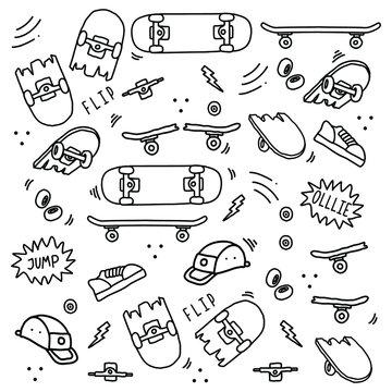 Seamless skateboard equipment doodle art