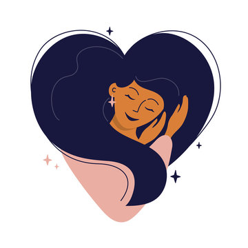 Cute girl with heart shaped hair hugs herself. Self care, love yourself or sweet dreams icon. Happy woman, time for your self, healthcare or skincare concept. Vector illustration for postcard, cards.
