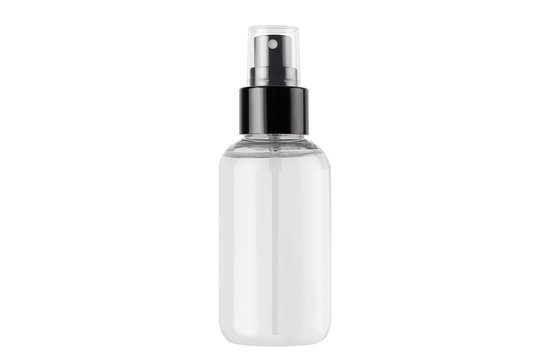 Spray bottle for cosmetics product with transparent liquid isolated on white background, mock up for branding, advertising, presentation, design.