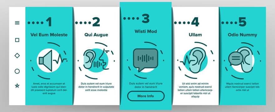 Hear Sound Aid Tool Onboarding Icons Set Vector. Hear Music Earphones And Dynamic, Hearing Device And Volume Button Illustrations