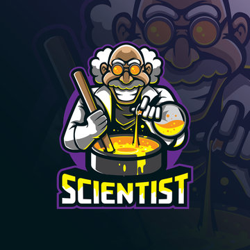 scientist mascot logo design vector with modern illustration concept style for badge, emblem and tshirt printing.