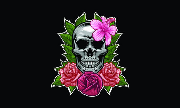 Skull with flower, leaves vector illustration isolated on black background
