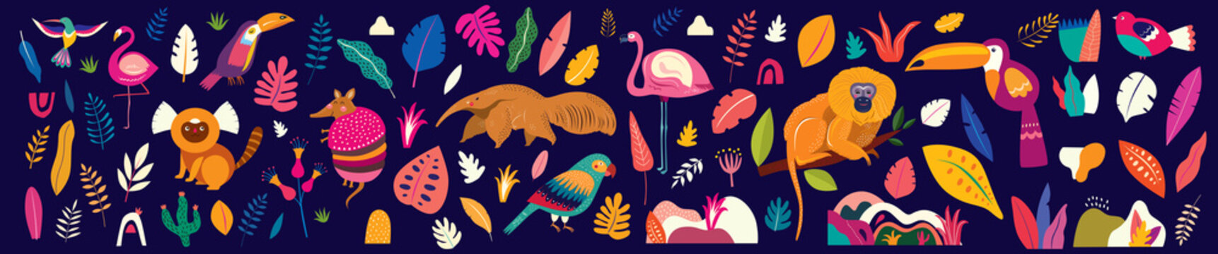 Animals big collection. Animals of Brazil. Vector colorful set of  illustrations with tropical flowers, leaves, monkey, flamingo, anteater and birds. Brazil tropical pattern.  Rio de janeiro pattern,.