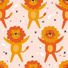 Door stickers Bestsellers Kids Seamless pattern with lions, hand drawn overlapping backdrop. Colorful background vector. Illustration with animals. Decorative wallpaper, good for printing