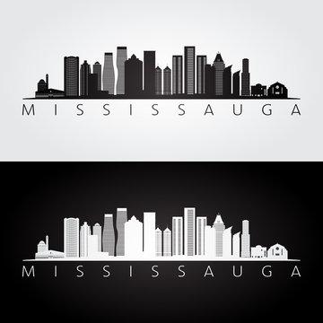 Mississauga skyline and landmarks silhouette, black and white design, vector illustration.