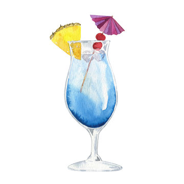 Summer blue cocktail with pineapple and red berry isolated on white background. Hand drawn watercolor illustration.