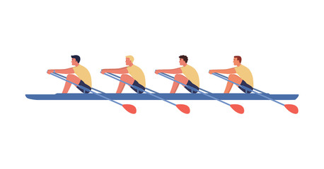 Four athletes swim on a boat, the concept of rowing competitions. Vector illustration, flat style.