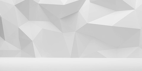 abstract wall polygon white geometric structure with triangular shapes on white background 3d render illustration Fotomurales