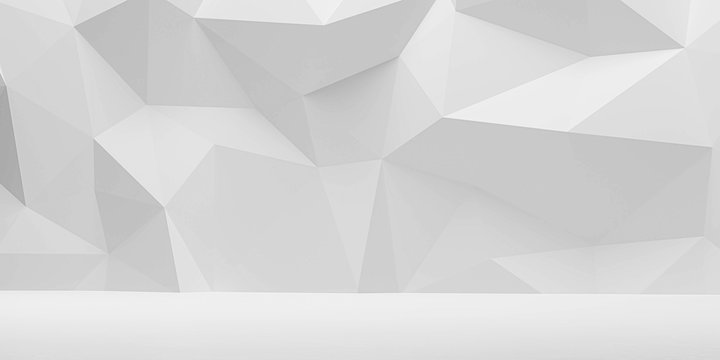 abstract wall polygon white geometric structure with triangular shapes on white background 3d render illustration