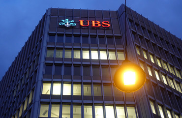 Logo of Swiss bank UBS is seen at an office building in Zurich