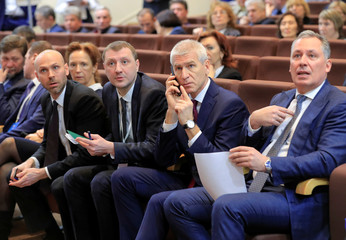 Russian Sports Minister Matytsin and President of the Olympic Committee Pozdnyakov attend a conference to elect a new president of Russia's athletics federation at the Olympic Committee building in Moscow