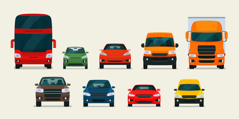 Big set of different models of cars. Vector flat style illustration. Fototapete