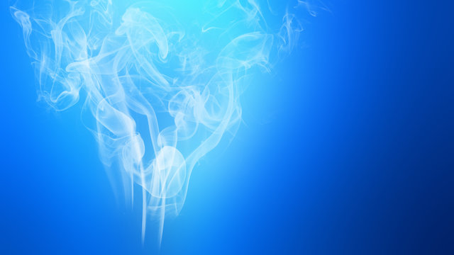 Light blue smoke explosion fluid gas ink particles with focus on smoke