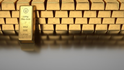 Fototapete - 1000g gold bars of a bank. 3d illustration.