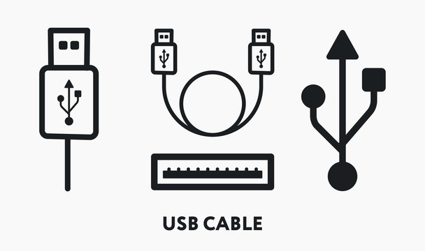 USB Cable Connector Port Cord Wire Symbol. Flat Vector Line Icon Set.