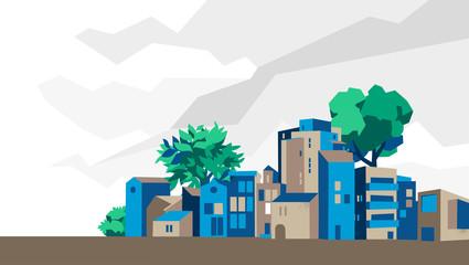 Panoramica città, villaggio con case e alberi, sfondo cielo con nuvole - Illustrazione vettoriale Fotomurales