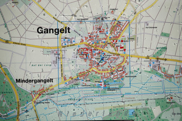 The map of Gangelt is pictured at an information point at the town-hall