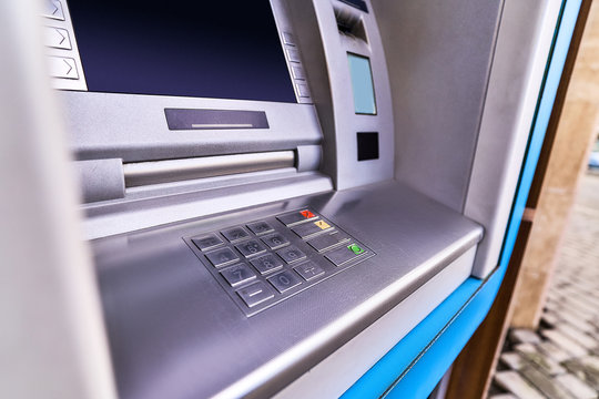 Atm bank for withdrawing cash close up
