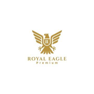 Gold Royal Eagle badge logo, falcon logo, hawk logo, eagle heraldic logo