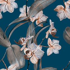 Orchid seamless pattern. Watercolor Illustration. Hand painted background