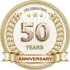 50 years anniversary vector golden design background for celebration, congratulation and birthday card, logo