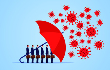 Red umbrella protecting merchants immune novel coronavirus pneumonia infection