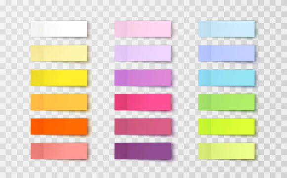 Post note stickers isolated on transparent background. Vector colorful paper sticky tapes set with shadow template..