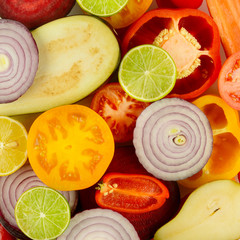 Wall Mural - Background of fresh fruits and vegetables close-up