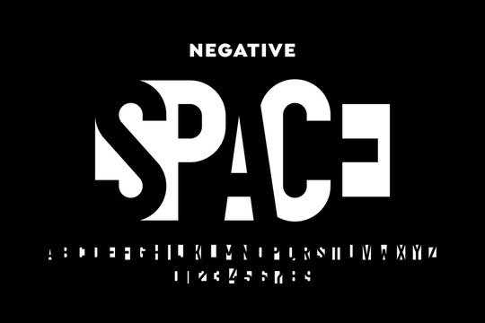 Negative space style font, alphabet letters and numbers