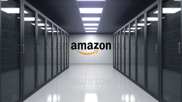 Amazon.com logo on the wall of the server room. Editorial 3D rendering