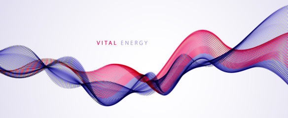 Flowing energy particles, wave of blended dots. Curved dotted 3d lines vector effect illustration. 3d futuristic technology style. Fotoväggar