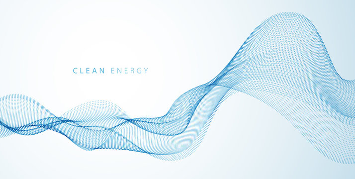 Flowing energy particles, wave of blended dots. Curved dotted 3d lines vector effect illustration. 3d futuristic technology style.