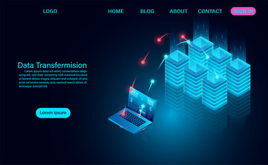 Data Transfermision concept, downloading and uploading data to the server. vector illustration isometric style Fotobehang