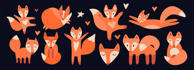 Set of cute cartoon foxes in modern simple flat style. Isolated vector characters for the design of children's goods, books, toys, clothes, textiles. Cute red fox mascot, print, symbol, scandinavian