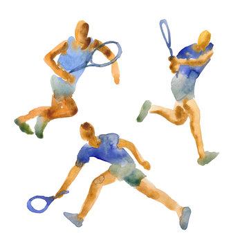 Hand drawn watercolor illustration. Men play tennis. Watercolor sketch of people