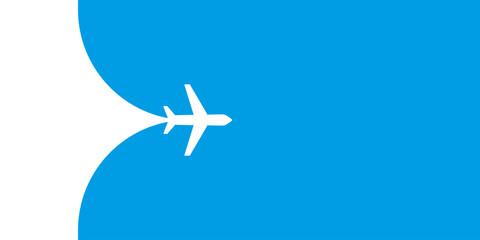 Plane fying on blue sky vector illustration. Travel tourism transport concept. Passenger aircraft. Jet commercial plane. Airplane fly. Fototapete
